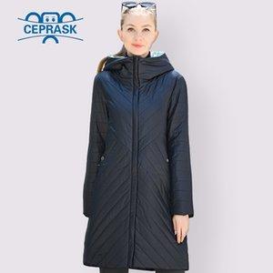 CEprascar designer primavera coleção outono mulheres jaqueta fina parka longo plus tamanho 6xl Novas mulheres europeias casaco aquecido roupas 201007