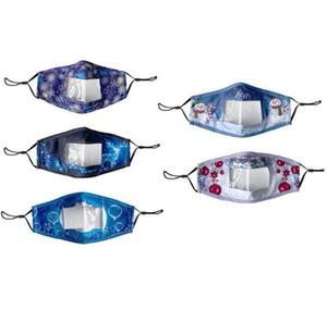 Weihnachtslippe Sprachmaske Cartoon druck transparente Gesichtsmaske Erwachsene sichtbare taub Mundabdeckung Wiederverwendbarkeit Klare Designermaske HWB2465