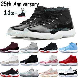 Мужчины баскетбол обувь Jumpman 11 11S кроссовок 25-летие наследницы ночь бордовое разводила прохладной серое созвучие 45 низкой легенды синей мужских тренеров
