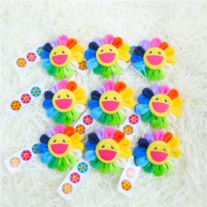 Cute Smile Cartoon Sunflower Plush Toys Creative Brooches Stuffed Toys Small Pendant Denim Hat Badge Collar Decoration