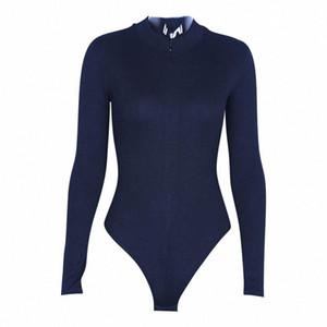 Donne Casual Solid Collare stand lungo regolare Slim Sleeve morbido materiale traspirante elastica tuta della chiusura lampo S8wG #