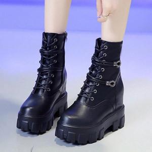 Tacchi Rimocy nascosti Chunky Platform Stivaletti per la calzatura donna Breve peluche All'interno Autunno Inverno Donna punk dell'unità di elaborazione dei bottini di cuoio 0f07 #