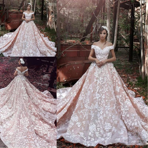 2021 Vestido De Noiva New Design Arabic V-Neck Cap Sleeve Chapel Train Appliques A-Line Lace Luxury Long Wedding Dresses Robes De Mariee