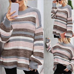 New Women'S Fashion Round Neck Pullover Knit Stitching Personality Sweater