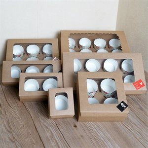 10pcs Kraft Paper With Clear Window Wedding Birthday Party Cake Cupcake Packaging Box Wholesale 201029