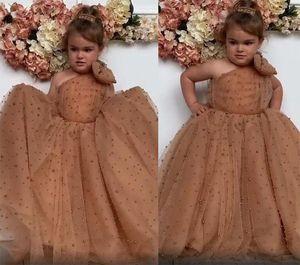 New Lovely Dark Champagne One Shoulder Flower Girls Dresses for Wedding Pearls Tulle Puffy Skirt Child Communion Dress