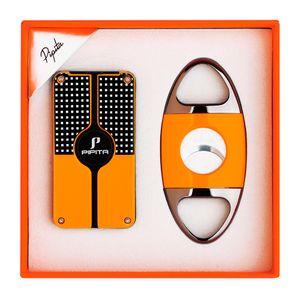 Pipita Прикуриватель и Cutter Set ветрозащитный многоразового бутан факел зажигалка 3 Jet Flame Зажигалки с Перфорация Сигареты Зажигалка
