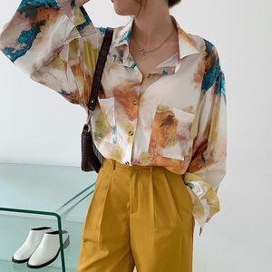 blusa Feminina plaj tarzı bahar sonbahar Kore Kadın Giyim moda uzun kollu şifon bluz büyük beden cepler gömlek başında