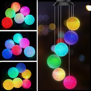 DHL Wind Chime Spiral Color Changing Solar Power Spinner Crystal Ball Wind Mobile Portable Waterproof Outdoor Decorative Romantic Wind Bell