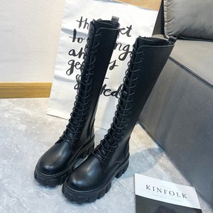 Lucyever Chunky Platform High Boots Women Autumn 2020 Fashion Lace Up Knee High Long Boots Woman Waterproof Pu Leather Shoes J1220