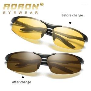 Güneş Erkekler Alüminyum-Magnezyum Araba Sürücüsü Gece Görüş Goggles Parlama Anti-Parlama Polarize Polarize Sürüş Gözlük Pochromic1