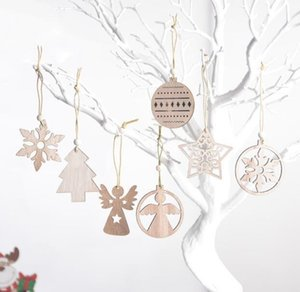 Exquisite Christmas Snowflake Pendant Laser Carved Wood Hollow Small Xmas Tree Ornament 2020 Wooden Decorations