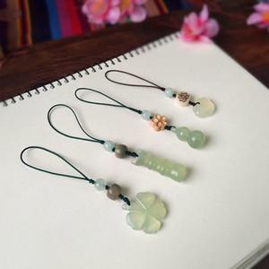 Natural four leaf grass jade car key bag U disk pendant lucky mobile phone chain