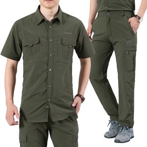 Short sleeve, short sleeve, short sleeve shirt, men's outdoor fast drying pants, hiking Pants Set, fishing suit, sports suit, breathing ladd