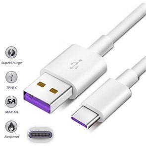 Câble DHL 100PCS 1M 5A SuperCharge pour Huawei Samsung Moto LG Câble USB Type C Câble USB 3.1 Câbles de charge rapides de type C