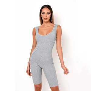 Aonibeier Solid Knit Sleeveless Women Skinny Rompers Square Collar Tipping Detail Tank Playsuit Fitness Bodycon Short Jumpsuit T200704