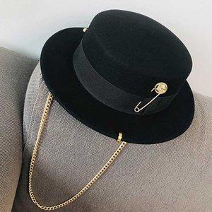 Fibonacci 2020 Fedora-Hut Retro Wollfilz Hut Frauen Europäischer Punk Kette Neuheit Flat Top Hüte Männer Cap Street Fashion wilder Trend