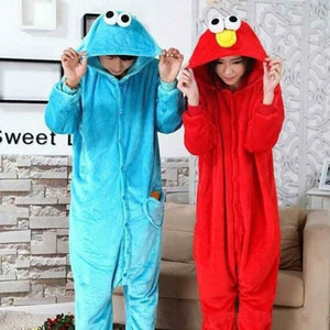 Blue Cookie Monster Red Sesame Street Elmo Onesies Animal Cosplay Costume Pajamas Adults One Piece Pyjamas Hooded Sleepwear Y200109 t9JV#
