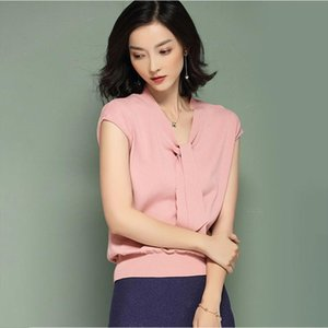 Women short sleeve knitting woman top for spring amp;summer solid color women blause Drop Shipping High Quality
