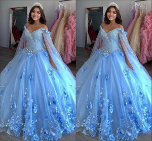 Light Blue New Sweet 16 Dresses Ball Gowns Hand Made Flowers Beaded Applique Vestidos De Quinceanera Dress With Wraps Prom Pageant Gowns