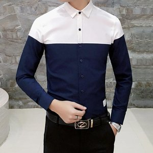 M-4XL Color Block Mens Office Shirts Long Sleeve Workout Streetwear Oxford Shirt Men Autumn New Fashion Tuxedo Party Shirt Male