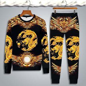 Men's Set Jogging long-sleeve t-shirt set Men Tracksuit Tops and Pants Mens Sweat Suits Dragon tiger printing Sets Men Clothing