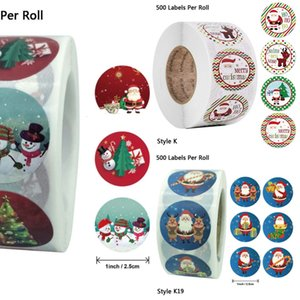 Round 500pcs roll 6 Designs Merry Christmas Thank You Stickers Seal Labels for Envelope Cards Baking Gift Package Scrapbooking d 5i6s