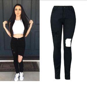 Women Jeans Skinny Pencil Hole Pants Ripped Denim High Waist Bottom Female Slim Trousers Summer Leggins Cotton High Elastic XXL1