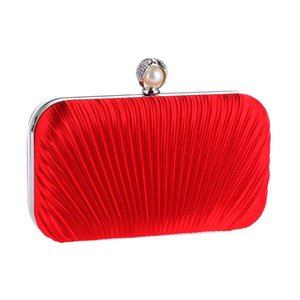 Fashion Red Women's Bag Satin Handbag New Shoulder Bag Bridal Wedding Evening Clutch Party Purse Makeup XST213-A