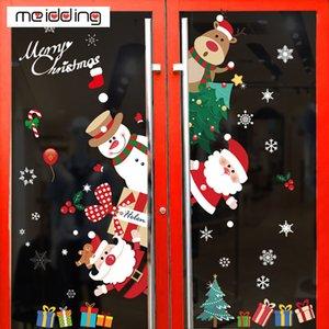 merry window 70cm christmas decoration for home natal fridge wall cartoon santa snowflake xmas deco stickers