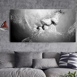 Canvas Hd Prints Pictures 1 Pcs Wall Black Love Kiss Abstract Artwork Painting Home Decor Modular Poster Framed For Living Room
