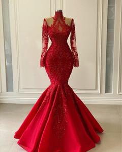 Arabisch Aso Ebi Red Luxuriöse Spitze Perlen Abendkleider 2021 rote glänzende lange Hülsen-Ansatz-Nixe-Abschlussball-Kleider Vestidos