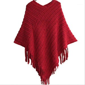 Wholesale-2016 Women Ladies Cape Coat Fringe Poncho Oblique Stripe Coat Bohemian Shawl Scarf ZT1 FG31