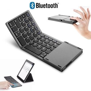 Tri-fold Touch Bluetooth Keyboard Mini Portable Folding Wireless Keypad with Touchpad for IOS Windows Android Tablet Cell Phone
