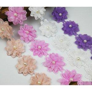 15 cortile rosa perla fiore chiffon in chiffon tessuto di pizzo nastro per abbigliamento cucito fai da te Bridal weddi qylhra hotstore2010