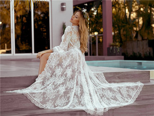 New Wave Lace Loose Sunscreen Beach Cardigan Long Skirt Holiday Dress Swimsuit Outer Blouse Women Wraps Long Sleeves Prom Vestidos