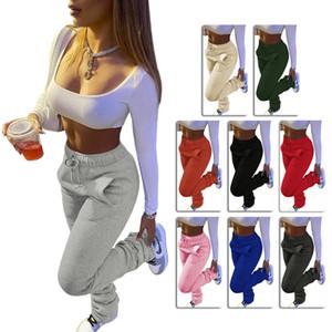 Pants Mulheres sólida Casual Cor pesada camisola Tecido Sports cordão Calças Stack com bolsos Moda Leggings Ladies
