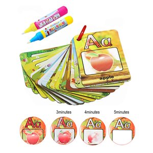 Coolplay Water Drawing Card 26 Alfabeto Coloring Book 2 Magic Pen Letter Card Painting Board English Learning Educational Toys LJ200922