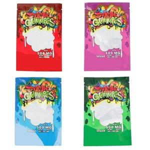 NEUE DANK Gummies Mylar Bag Edibles Retail-Reißverschluss Verpackung Würmer Bären Würfel Gummy Auf Lager DHL frei