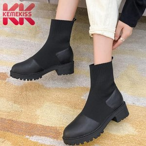 KemeKiss Ankle Boots Women Genuine Leather Patchwork Women Short Boots Fashion Usual Winter Shoes Footwear Size 34-43