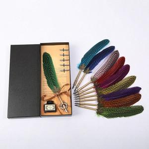 Nueva pluma de pluma delicado diseño de personalidad caja de regalo empaquetamiento conjunto de papelería de acero inoxidable simple retro textura pluma cuerpo cuerpo wfvq #
