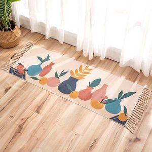Fruit Cotton Linen Tassel Welcome Door Carpet Bedside Hallway Area Rugs Non Slip Bath Foot Pad Prayer Mats