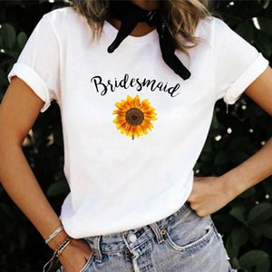 LH20533 Bridesmaid Sunflower Plant Personality Printing Casual Wild Round Neck Short Sleeve T-shirt Women