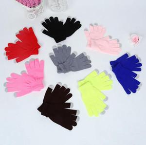Luvas tela toque quente estiramento Knit Mittens Mulheres Homens completa do dedo luvas Big crianças Mitten Inverno Acessórios 18 Cores OWC2549