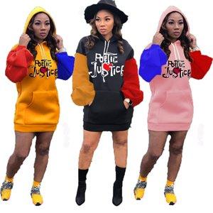Le donne casuale contrasto abito con cappuccio manica lunga ricamo del manicotto di soffio maglione veste 2020 autunno delle nuove signore modo del pannello esterno