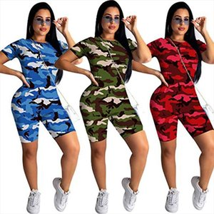 Fashion Summer Women Set Sport O Neck Short Sleeve Camouflage Print Top And Biker Shorts Two Piece Set Outwear Tracksuit