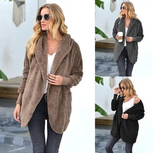 Coat Womens Designer Lapel Neck Hooded Jackets Solid Color Casual Long Sleeve Outerwear Clothing For Women Fleece Loose Winter