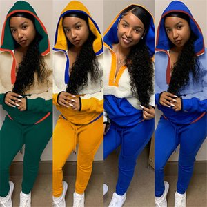S-3XL Women Tracksuit Fall Long Sleeve Fleece Hoodie Sherpa Pullovers Sweatshirt Hooded Neck Zipper Sweaters Tops Pants Outfit F102007