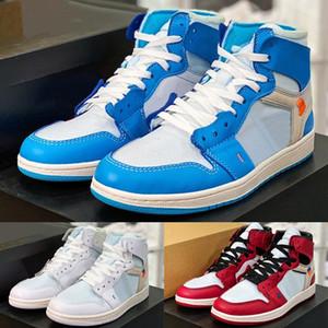 2021 Qualidade superior OG 1S Design de articulação UNC New Chaussures Sapatos de Basquete Vermelho Azul Branco Mulher Esportes Sapatilhas Ao Ar Livre Tênis