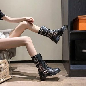 Women boots genuine leather breathable hollow-out Martin boots Women's thick heel mid-leg high-top short cool